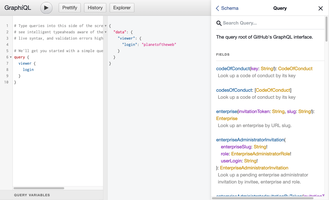 Github's GraphQL Explorer
