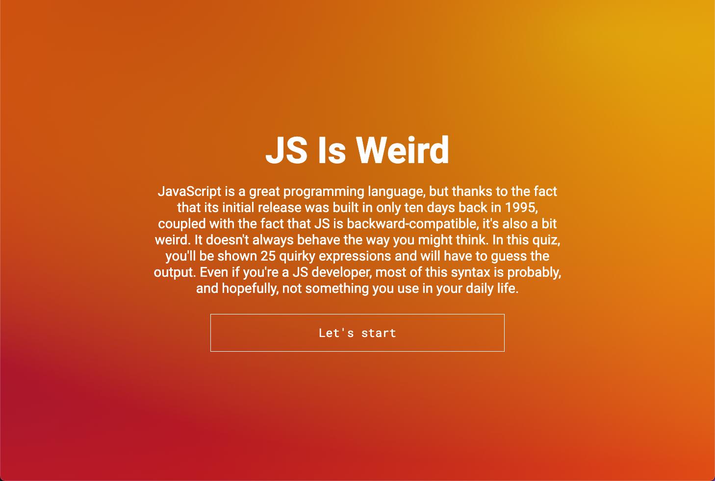 JS is Weird Quiz