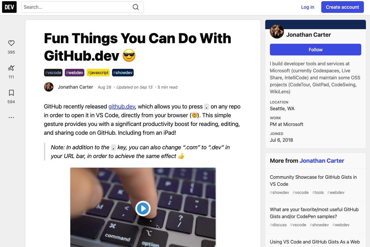 GitHub.dev Tips